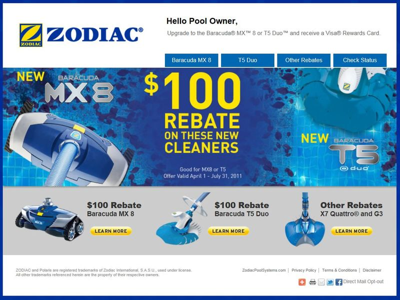Zodiac ppc pool offer landing page